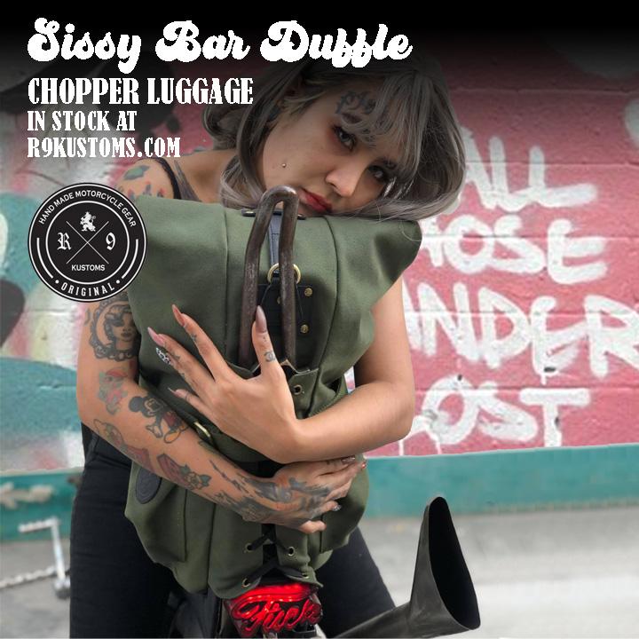 SISSY BAR DUFFLE BAG, VINTAGE CHOPPER BAG, VINTAGE BOBBER BAG, SISSY BAR BAG, BORN FREE