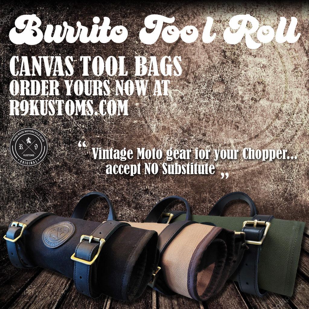 vintage tool roll, chopper tool roll, harley tool roll, bobber tool roll, retro tool roll, canvas tool roll BORN FREE